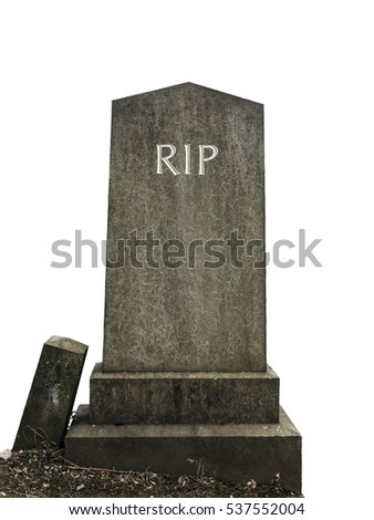 Isolated Ancient Gravestone With RIP (Rest In Peace) Engraving On A White Background