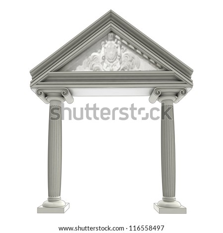 isolated ancient ionic column gate with architrave above illustration