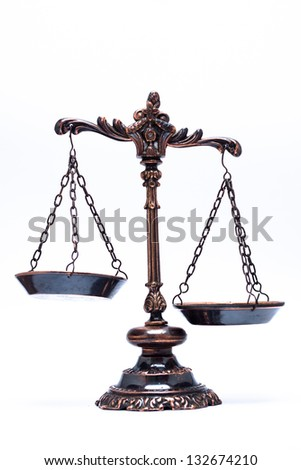 isolated antique scale of justice (not balanced) - stock photo