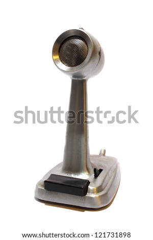 Isolated antique stainless steel microphone used for radio - stock photo