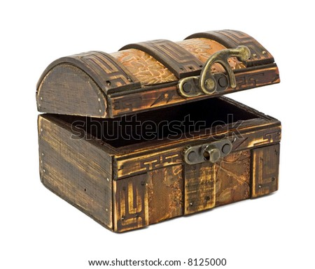 Isolated antique wooden chest on white background