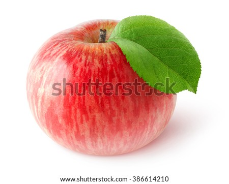 Isolated apple. One red apple with leaf isolated on white background with clipping path - stock photo