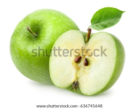 Isolated apples. Whole green apple fruit and half isolated on white background, with clipping path