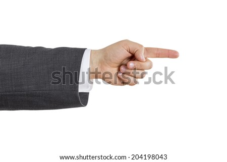 isolated arm of a business man pointing with his index finger
