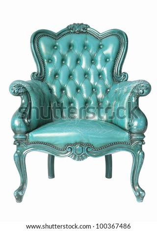 isolated Armchair light blue genuine leather classical style sofa with clipping path
