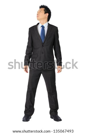 Isolated asian business man on white.
