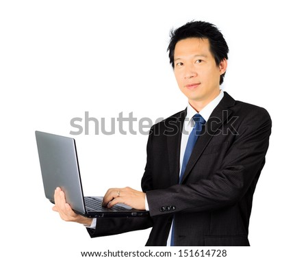 Isolated asian business man with a laptop computer over white