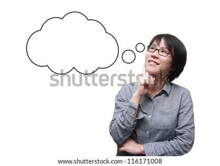 isolated asian woman thinking with a bubble box