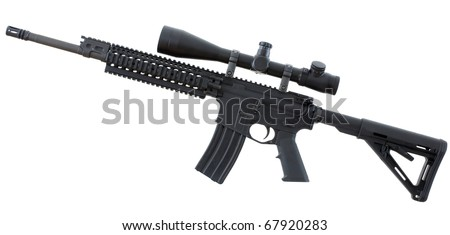Isolated assualt rifle that is black with an adjustable stock