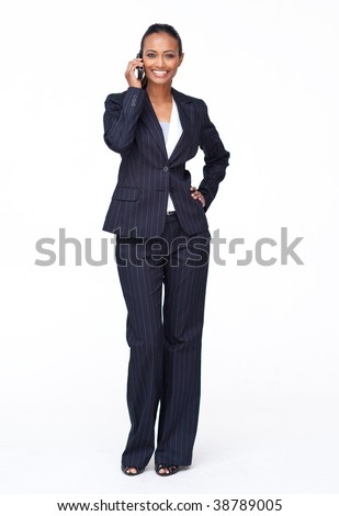 Isolated attractive businesswoman on mobile phone