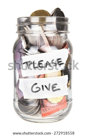 Isolated Australian Money Jar With Please Give on it