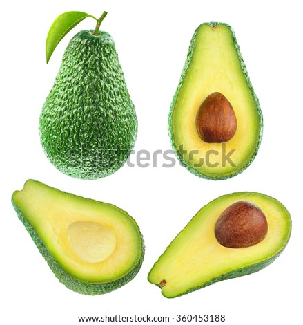 Isolated avocado. Collection of whole avocado fruit and halves isolated on white background with clipping path - stock photo