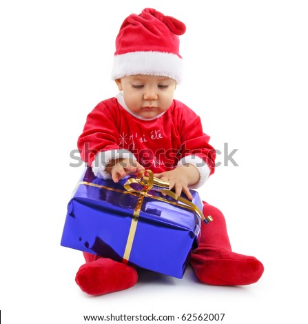 isolated baby christmas with gift - stock photo