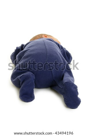 isolated baby sleeping - stock photo