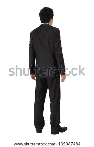 Isolated back of an asian business man on white.
