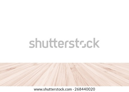 Isolated bamboo wood floor texture on white wall background - stock photo
