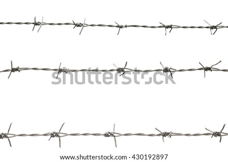 isolated barb wire fence with clipping path, three new barb wires fence isolated on white background with clipping path : isolated object with clipping path concept
