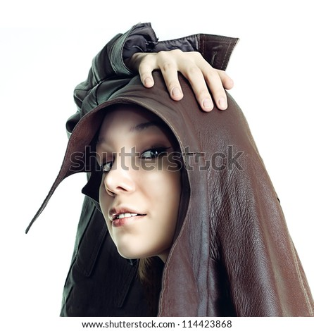 isolated beautiful freak girl  portrait photo - stock photo