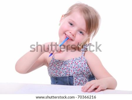 isolated beautiful young girl sitting, imagining and thinking - stock photo