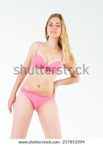 Isolated Beauty  Blonde Model  - stock photo