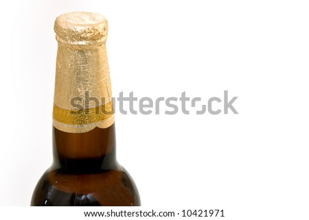 Isolated beer bottle