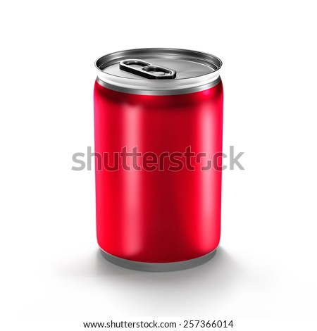 isolated beverage aluminum can isolated on white background - stock photo