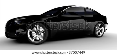 isolated black business car back