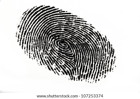 Isolated black fingerprint against a white background - stock photo