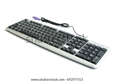 isolated black keyboard on a white background - stock photo