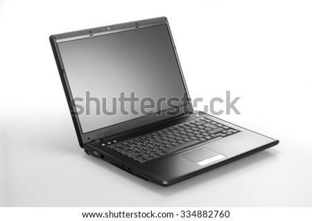 isolated black laptop computer white background