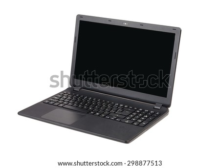 Isolated Black Laptop with Spanish Keyboard