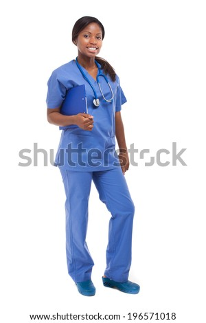 Isolated Black Nurse full length  - stock photo