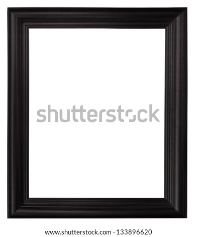 Isolated black picture frame wood white background. - stock photo