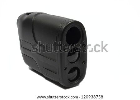 Isolated black plastic rangefinder used for golfing or hunting. - stock photo