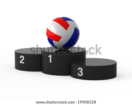 Isolated black podium and volleyball ball. - stock photo