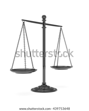 Isolated black scales on white background. Symbol of judgement. Law, measurement, liberty in one concept. 3D rendering. - stock photo
