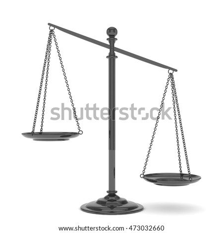Isolated black scales on white background. Symbol of judgement. Law, measurement, liberty in one concept. 3D rendering.