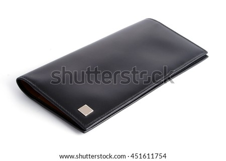 isolated black short leather texture wallet with white background / Male purse - stock photo