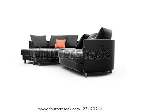 isolated black sofa against white background