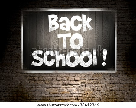 isolated blackboard with back to school text - stock photo