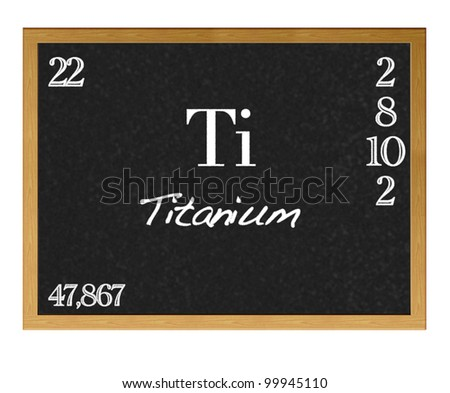 Isolated blackboard with periodic table, Titanium.