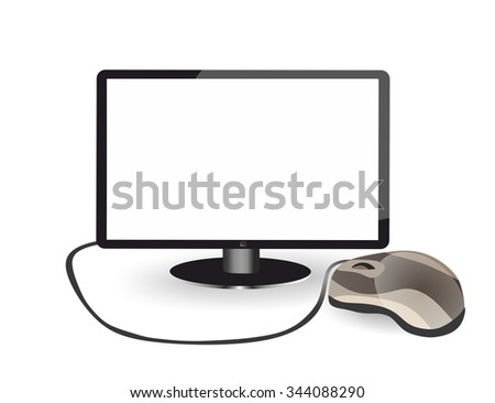 Isolated blank monitor and PC mouse on white background