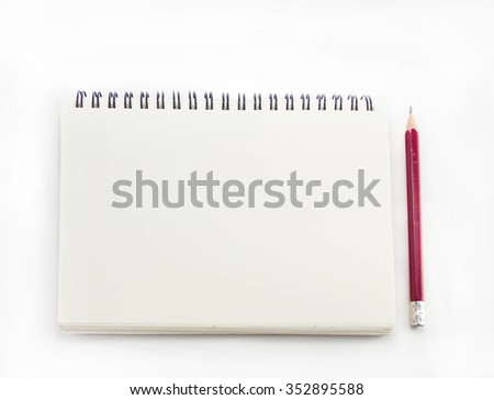 Isolated blank notebook with pencil