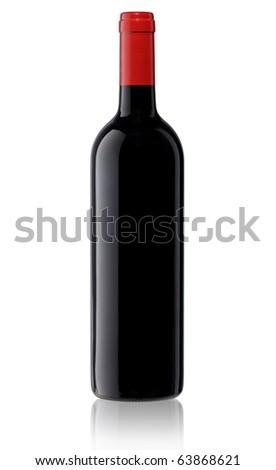 Isolated blank wine bottle - stock photo