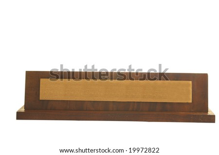 Isolated blank wooden  nameplate isolated on white background - stock photo