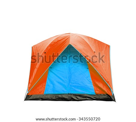 Isolated blue and orange dome tent with clipping path - stock photo