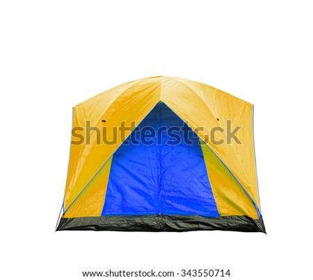 Isolated blue and yellow dome tent with clipping path - stock photo