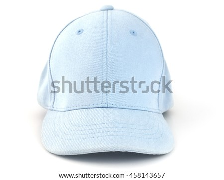 Isolated blue baseball cap on a white background.