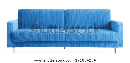 isolated blue couch  - stock photo