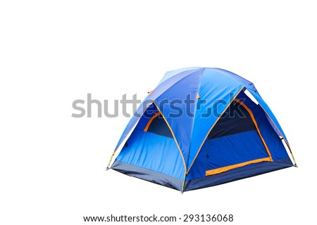 Isolated blue dome tent with clipping path - stock photo